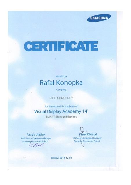 Certyfikat Samsunga dla rk-technology