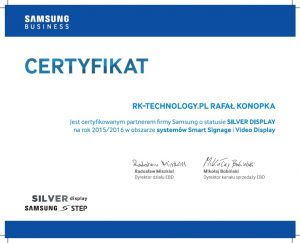 certyfikat silver samsung